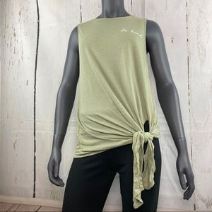 be kind green tie knot tank top